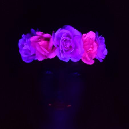 Bandeau Fleurs Rose Fluo Hawai