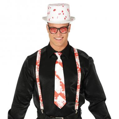 Bluthut, Hosenträger & Krawatten-Set