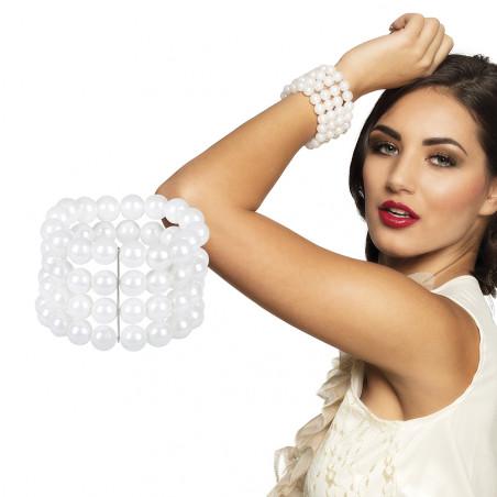 Bracelet en Perles Blanc Fluo