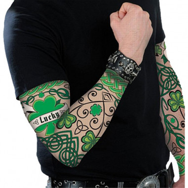 Manche Tatouage St Patrick - Lot de 2