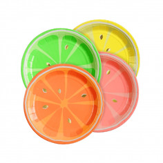Assiettes en Carton Fluo Summer - Lot de 8