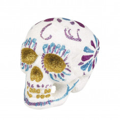 Crâne Dia de los Muertos Pailletté Blanc