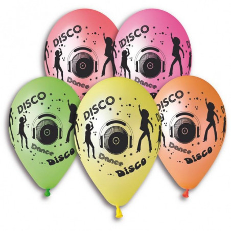 "Ballons ""Disco"" Fluo - Lot de 10"