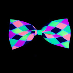 Noeud Papillon Arlequin Fluo Large