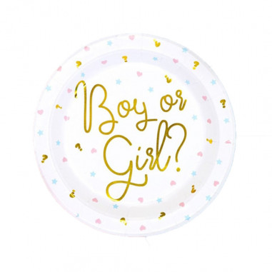 "Assiettes en carton ""Boy or Girl"""