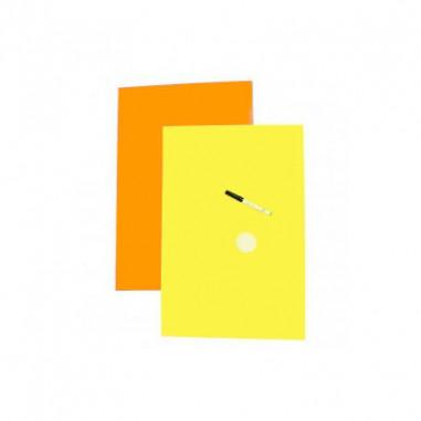 Feuilles Cartonnées Fluo Effaçables - Lot de 10