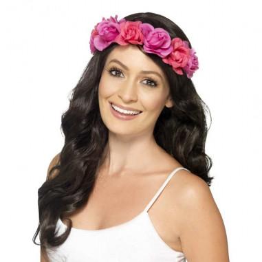 Stirnband Blumen Rose Fluo
