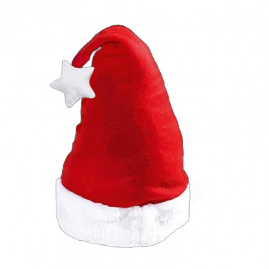 Nikolausmütze Weihnachten mit Bommel Hell