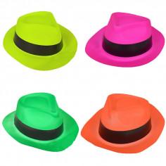 Neon Al Capone Hut - Packung mit 96 Stück