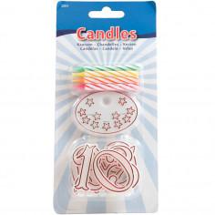 Lot de 8 bougies colorées avec chiffres