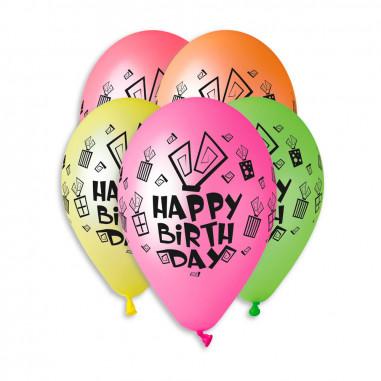 Ballon Fluo happy birthday - Lot de 5
