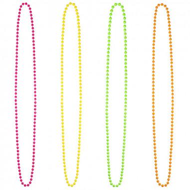 Collier en Perles Fluo - Lot de 4