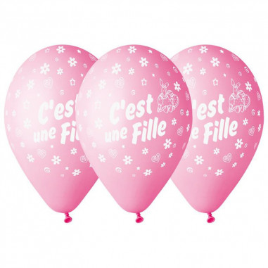Ballon Rose Gender Reveal - Fille - Lot de 10