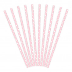 Paille Rose Rond Blanc - Lot de 10