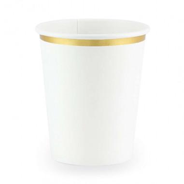 Gobelet Blanc et Doré - Lot de 6