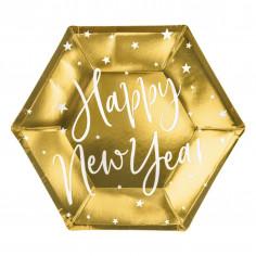 Assiettes Dorées Happy New Year - Lot de 6