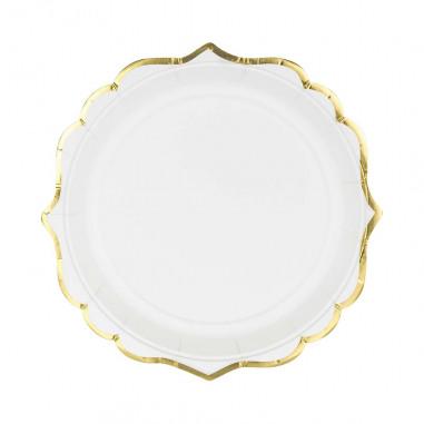 Assiette Blanche et Dorée - Lot de 6