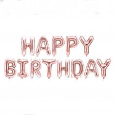 Guirlande Ballons Rose Gold Happy Birthday
