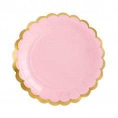 Petite Assiette Rose et Dorée - Lot de 6