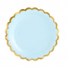 Petite Assiette Bleue et Dorée - Lot de 6