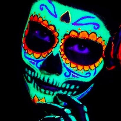 Maquaillage fluo Dia de los muertos