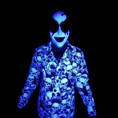 veste fluo blanche tête de mort